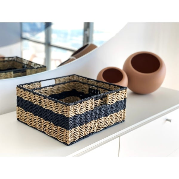 Handmade Wicker Square Nested Baskets (Set of 2) by Handcrafted 4 Home