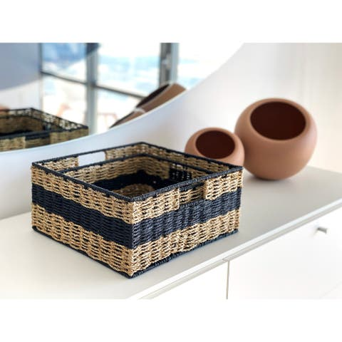 The Curated Nomad Ray Handmade Wicker Square Nested Baskets (Set of 2)