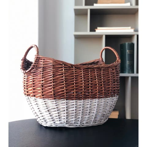 The Curated Nomad Ray Handmade Large Curved Modern Wicker Basket