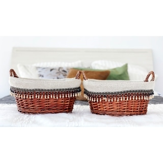 Handmade Wicker Lined Oval Basket (Set of 2) by Handcrafted 4 Home