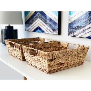 Handmade Rectangular Water Hyacinth Baskets (Set of 2) by Handcrafted 4 Home