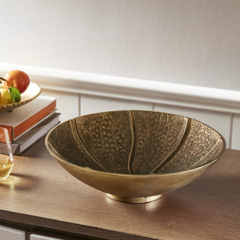 Madison Park Signature Agra Gold Round Bowl