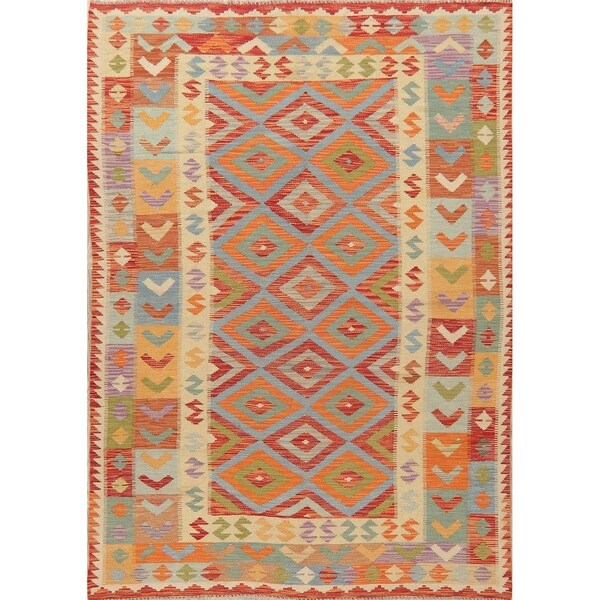"Geometric Hand-Woven Turkish Oriental Area Rug Wool Pastel All-Over - 8'2"" X 5'8"""