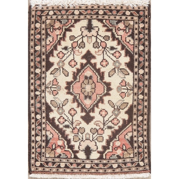 """Distressed Vintage Handmade Hamedan Persian Floral Medallion Area Rug - 2'1"""" X 1'6"""""""