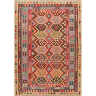 "Pastel Hand Woven Turkish Southwestern Kilim Tribal Geometric Area Rug - 9'7"" X 6'7"""