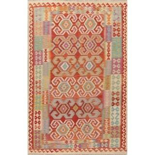 "All-Over Kilim Oriental Area Rug Wool Hand-Woven Geometric Turkish Rug - 9'9"" X 6'4"""