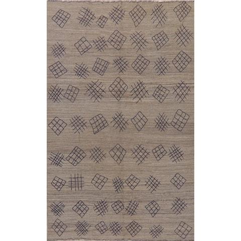 "Geometric Hand Woven Solid Kilim Turkish Oriental Tribal Area Rug - 9'6"" X 6'10"""