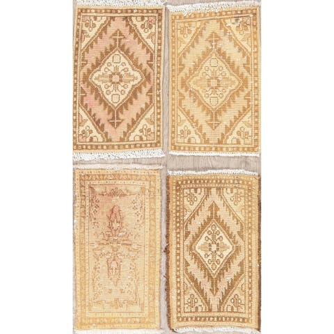 """Set of 4 Hand Made Vintage Distressed Hamedan Persian Floral Area Rugs - 1'11"""" X 1'2"""""""