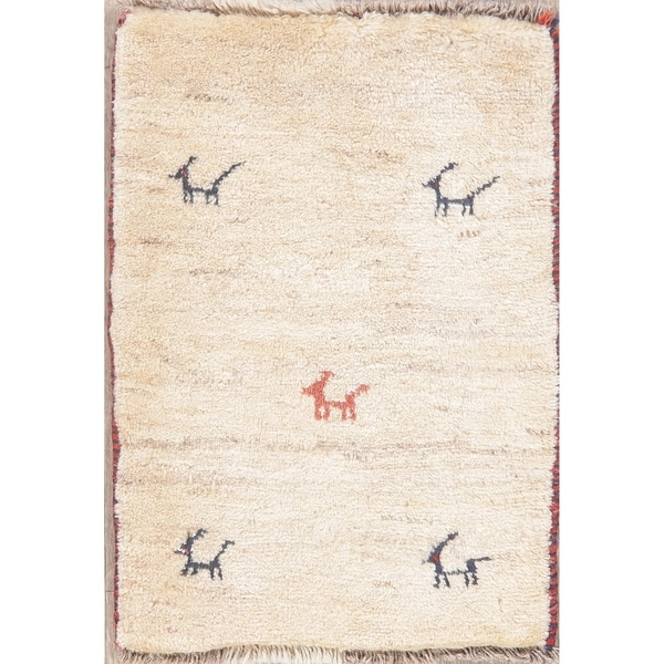 "Solid Hand Knotted Tribal Gabbeh Shiraz Persian Oriental Area Rug - 2'3"" X 1'8"""