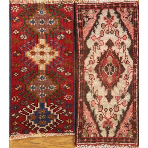 """Set of 2 Floral Hand Made Hamedan Persian Distressed Vintage Area Rugs - 2'2"""" X 0'11"""""""