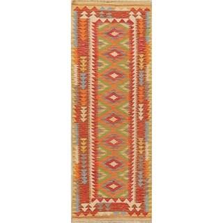 "Southwestern Kilim Turkish Oriental Geometric Hand Woven Runner Rug - 6'5"" X 2'3"" Runner"