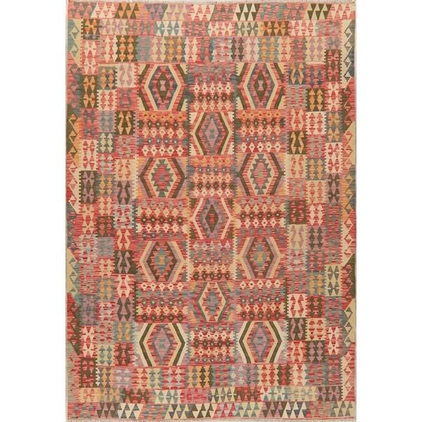 "Geometric South-Western Kilim Oriental Area Rug Hand-Woven All-Over - 9'10"" X 6'10"""