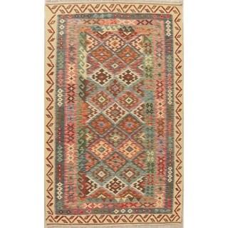 "Geometric Pastel South-Western Kilim Area Rug Oriental Hand-Woven - 8'5"" X 5'0"""