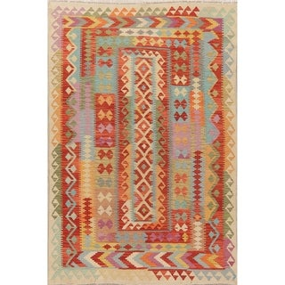"Pastel Geometric South-Western Kilim Oriental Area Rug Hand-Woven - 8'0"" X 5'7"""
