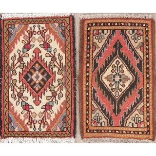 "Set of 2 Vintage Hand Made Hamedan Persian Floral Distressed Area Rugs - 2'0"" X 1'3"""