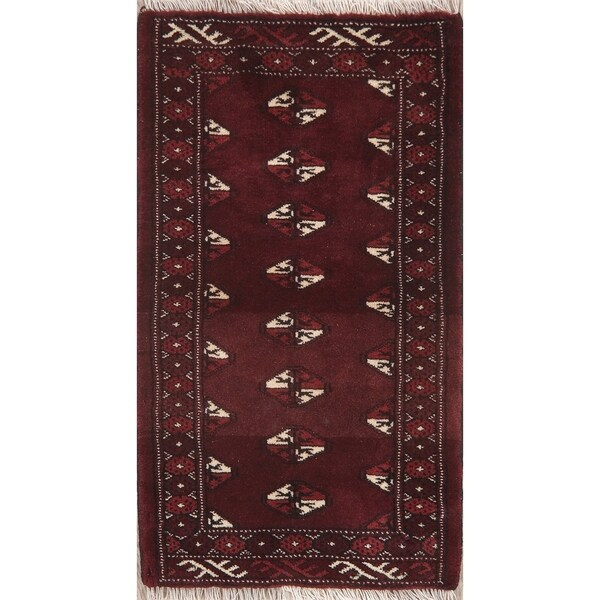 """Bordered Hand Knotted Carpet Tribal Balouch Afghan Oriental Area Rug - 2'11"""" X 1'8"""""""