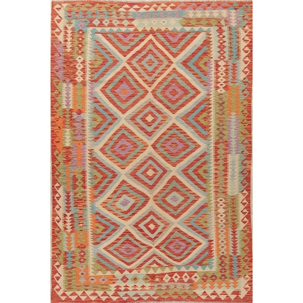 "New Flat-Woven Geometric All-Over Kilim Wool Turkish Oriental Area Rug - 8'4"" X 5'7"""