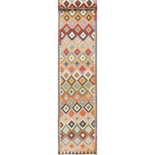 "Southwestern Hand Woven Kilim Turkish Oriental Geometric Runner Rug - 19'6"" X 2'7"" Runner"