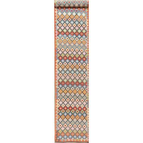 """HandWoven Southwest 20 ft Long Geometric Kilim Turkish Runner Rug Wool - 19'7"""" X 2'10"""" Runner"""