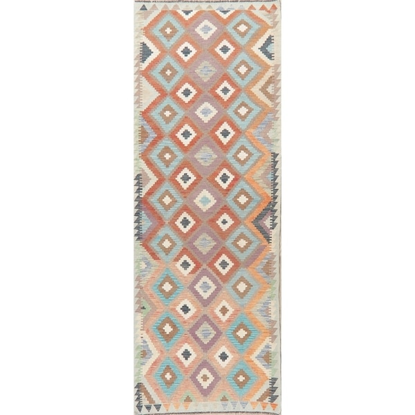 "HandWoven Southwest Living Room Geometric Kilim Turkish Runner Rug - 10'0"" X 2'10"" Runner"