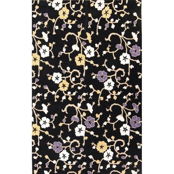 """Floral Transitional Hand Tufted Solid Oriental Scroll Area Rug - 8'1"""" X 5'1"""""""