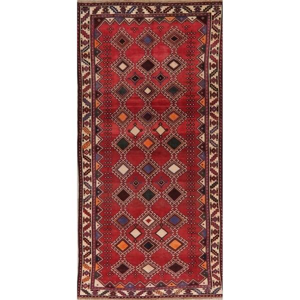 "Geometric Vintage Hand Knotted Bordered Bakhtiari Persian Area Rug - 9'6"" X 4'7"""