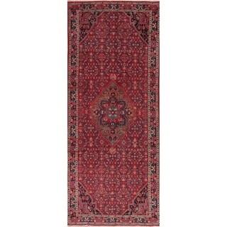 """Medallion Hand Knotted Carpet Bordered Hossainabad Persian Runner Rug - 10'6"""" X 4'4"""" Runner"""