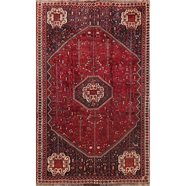"Medallion Vintage Hand Knotted Diamond Abadeh Persian Tribal Area Rug - 7'10"" X 5'0"""