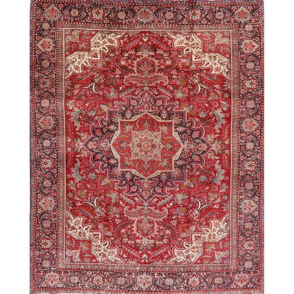 "Medallion Vintage Carpet Bordered Heriz Persian Hand Knotted Area Rug - 12'6"" X 9'11"""