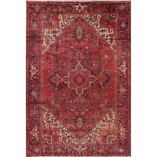 "Medallion Vintage Hand Knotted Diamond Heriz Persian Tribal Area Rug - 11'11"" X 8'3"""