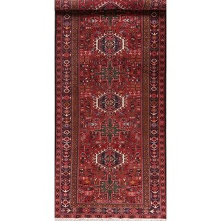 "Tribal Vintage Hand Knotted Diamond Gharajeh Persian Oriental Area Rug - 13'0"" X 4'11"""