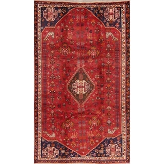"""Medallion Vintage Diamond Abadeh Persian Tribal Hand Knotted Area Rug - 8'9"""" X 5'3"""""""