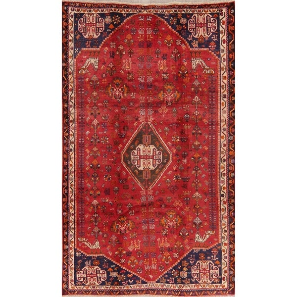 """Medallion Vintage Diamond Abadeh Persian Tribal Hand Knotted Area Rug - 8'9"""" X 5'3"""". Opens flyout."""