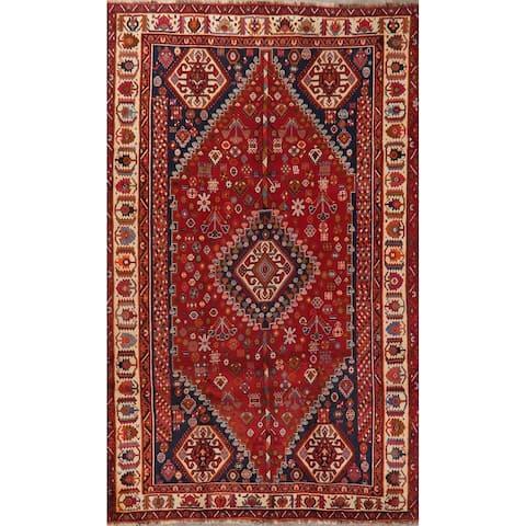 "Diamond Medallion Hand Knotted Carpet Kashkoli Persian Tribal Area Rug - 8'11"" X 5'5"""