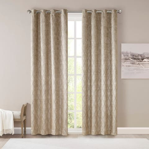 SunSmart Oxford Diamond Jacquard Total Blackout Single Curtain Panel