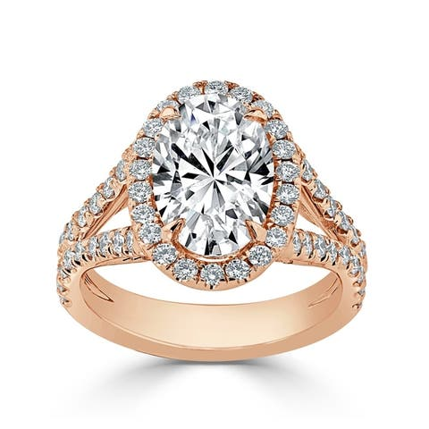 Auriya 14k Gold 2 1/2cttw Split Shank Oval Halo Diamond Engagement Ring