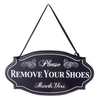 Please Remove Your Shoes Thank You Sign Ornate Wall Decor with Ribbon Hanger