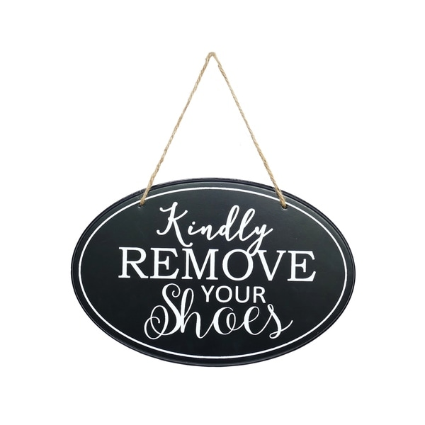 Oval Kindly Remove Your Shoes Sign Wall Decor