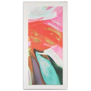 Abstract Wall Art on Deckled Artisan Paper & Metal Leaf & Acrylic Box