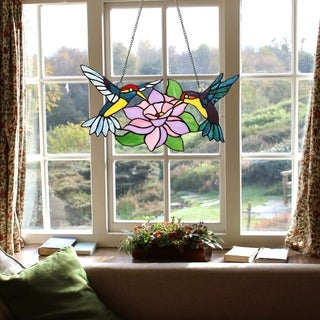 Link to Copper Grove Enighed Stained Glass Hummingbirds with Blossom Window Panel Similar Items in Window Treatments