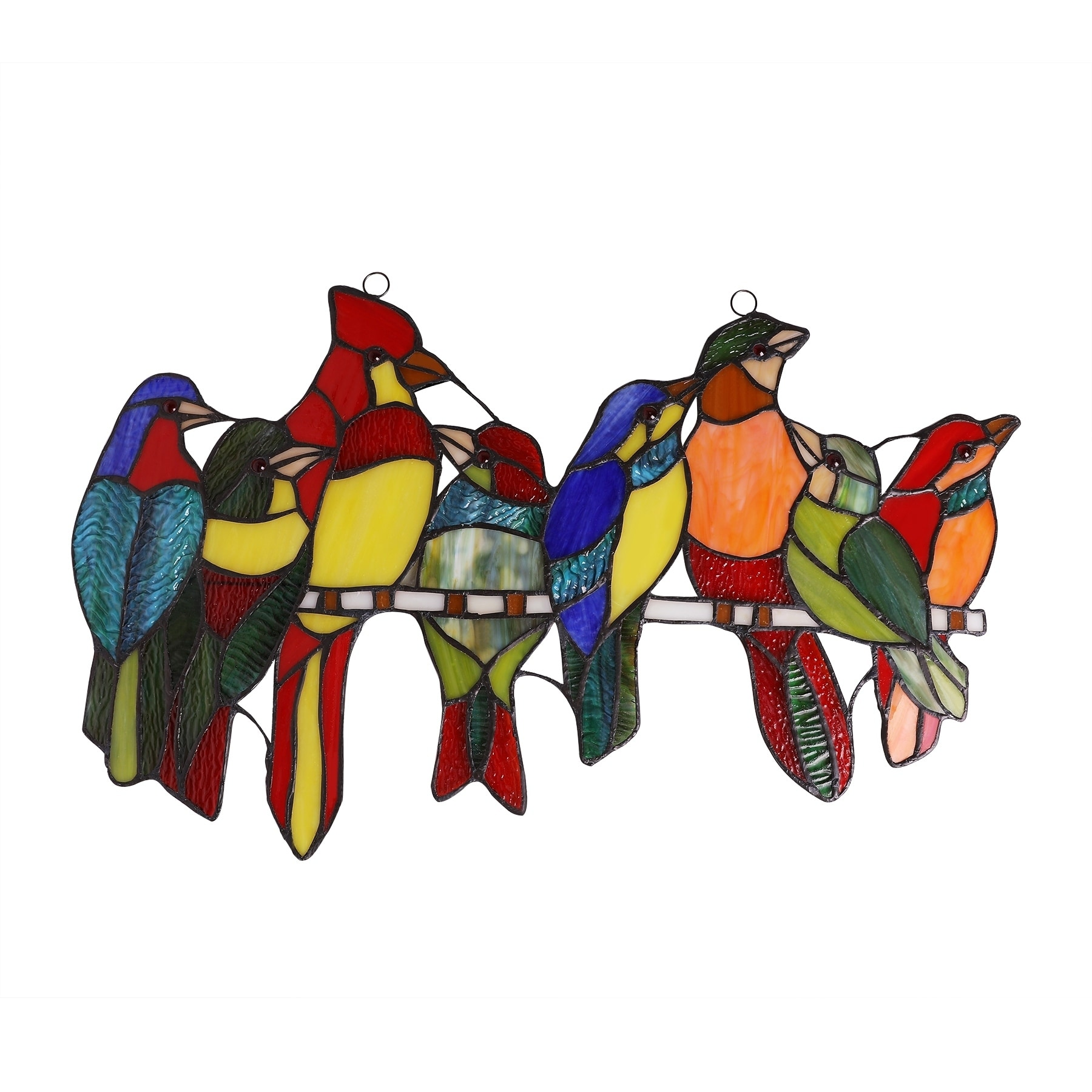Shop Co Z Stained Glass Birds Brood Tiffany Window Panel 21 50 X 13 H Overstock 29778398