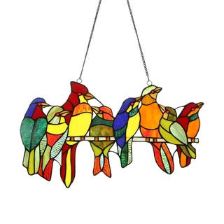 "CO-Z Stained Glass Birds Brood Tiffany Window Panel, 21.50"" x 13"" H"