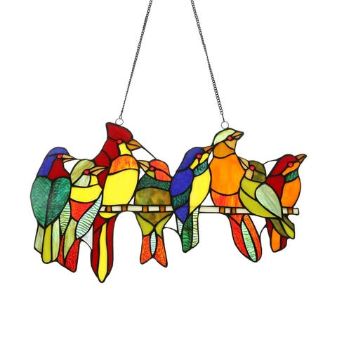 "CO-Z Stained Glass Birds Brood Tiffany Style Window Panel, 21.50"" x 13"" H"