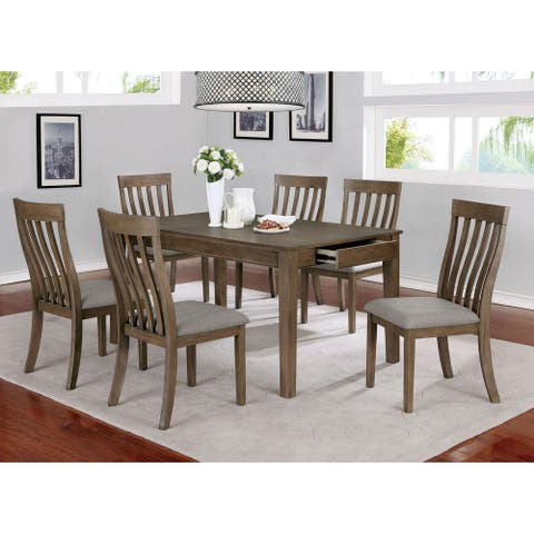 Furniture of America Kupa Transitional Oak 7-piece Dining Set