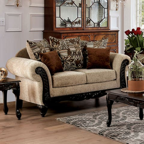 Furniture of America Nile Traditional Tan Chenille Loveseat