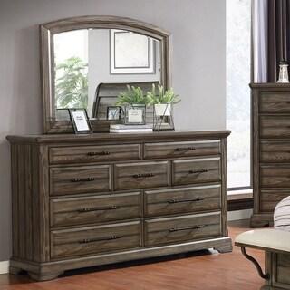 Furniture of America Kete Transitional Walnut Dresser and Mirror Set