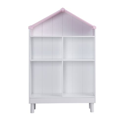 Hut Shape Wooden Bookcase with Five Spacious Shelves, White and Pink