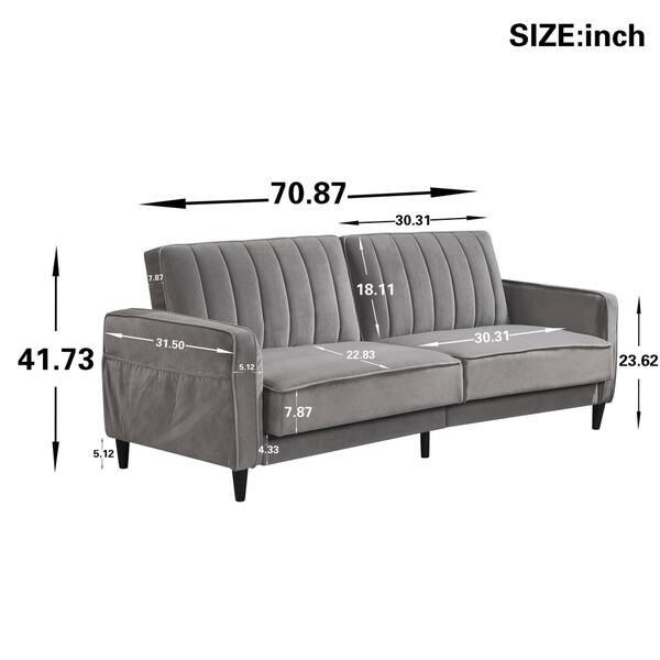 Tangerda Velvet 3 Seater Sofa Bed