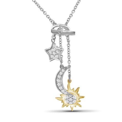 JewelonFire 1/5 Ct Genuine White Diamond Sun Moon Star Necklace in 2-tone Silver