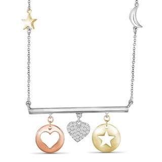 JewelonFire 1 4 Ct Genuine White Diamond Heart Dangling Bar Necklace In 3 Tone Silver